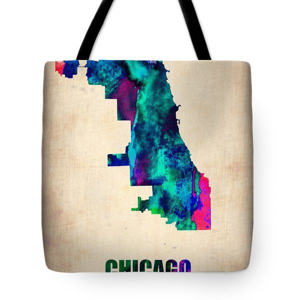 Chicago Watercolor Map Tote Bag by Naxart Studio