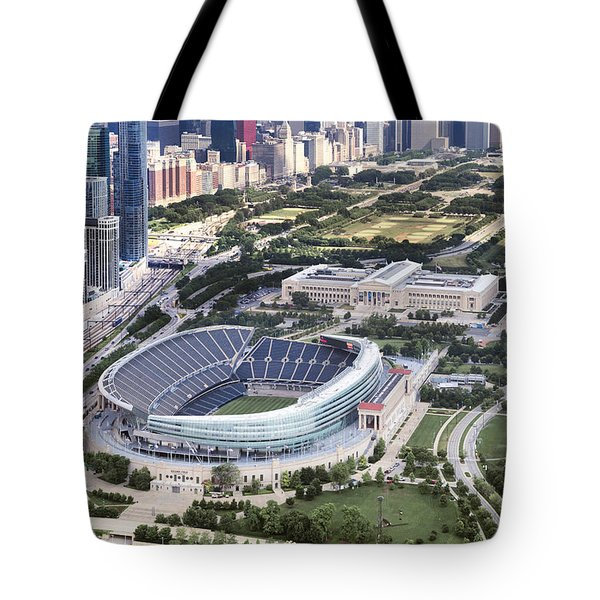 Chicago's Soldier Field Tote Bag by Adam Romanowicz