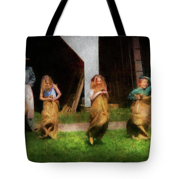 Children - The Sack Race  Tote Bag by Mike Savad