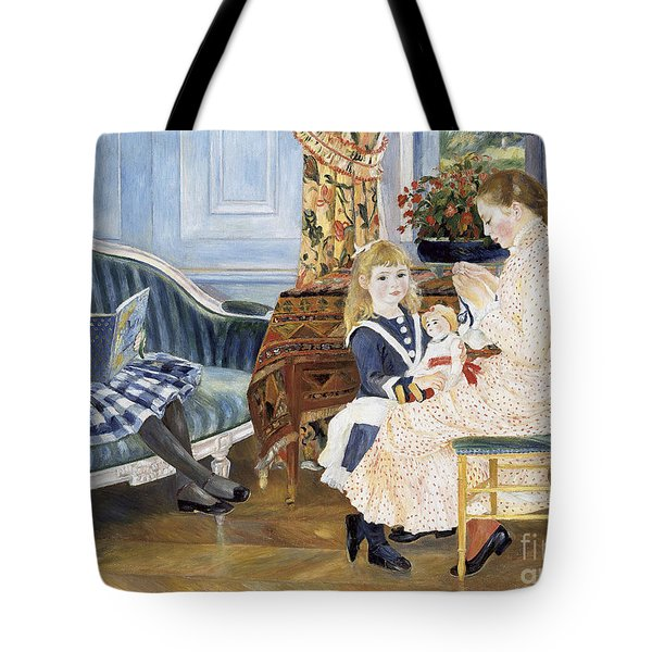 Children's Afternoon At Wargemont Tote Bag by Pierre Auguste Renoir
