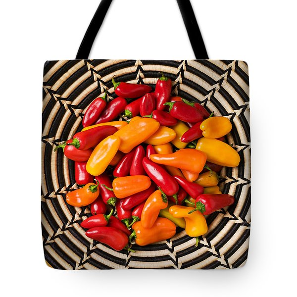 Chili peppers in basket  Tote Bag by Garry Gay