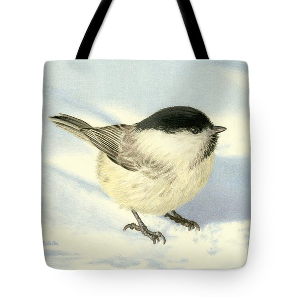 Chilly Chickadee Tote Bag by Sarah Batalka