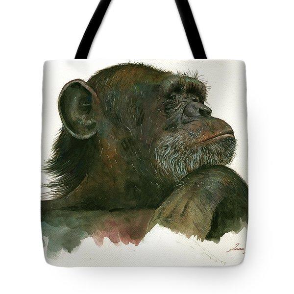 Chimp Portrait Tote Bag by Juan Bosco