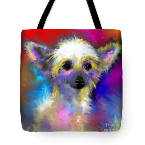 Chinese Crested Dog Puppy Painting Print Tote Bag by Svetlana Novikova