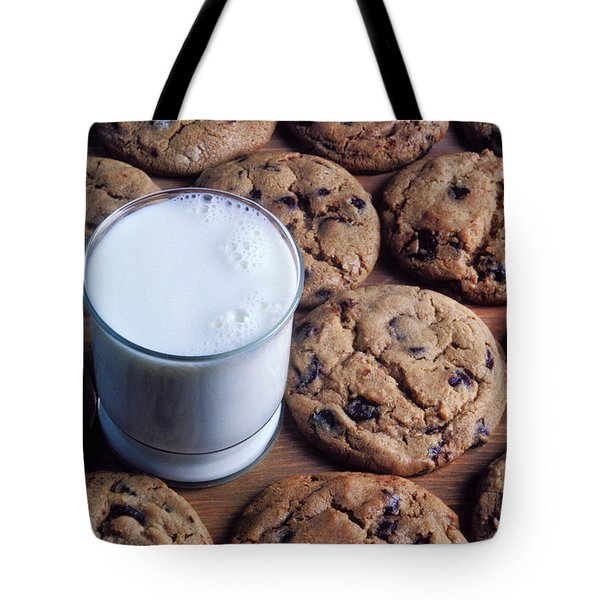 Chocolate Chip Cookies And Glass Of Milk Tote Bag by Garry Gay