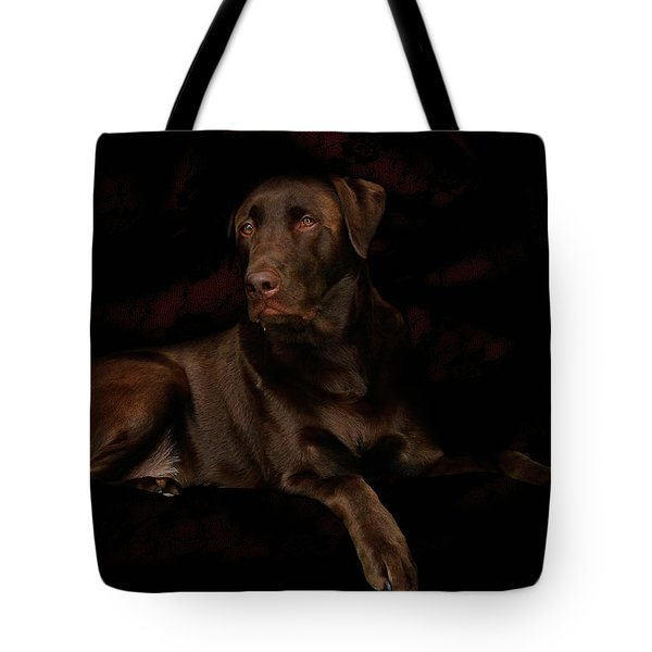 Chocolate Lab Dog Tote Bag by Christine Till