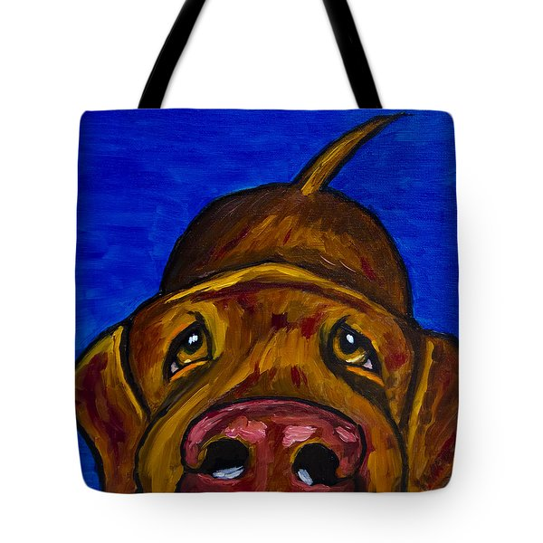 Chocolate Lab Nose Tote Bag by Roger Wedegis
