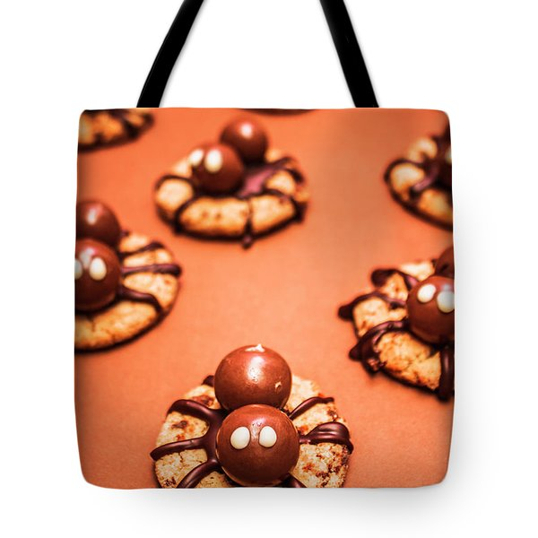 Chocolate Peanut Butter Spider Cookies Tote Bag by Jorgo Photography - Wall Art Gallery