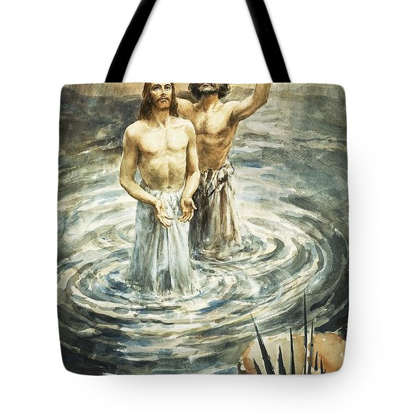 Christ Being Baptised Tote Bag by Henry Coller