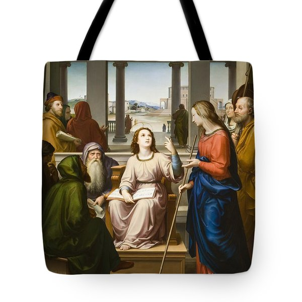 Christ Disputing With The Doctors In The Temple Tote Bag by Franz von Rohden
