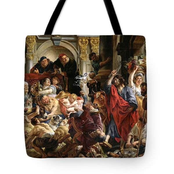 Christ Driving The Merchants From The Temple Tote Bag by Jacob Jordaens