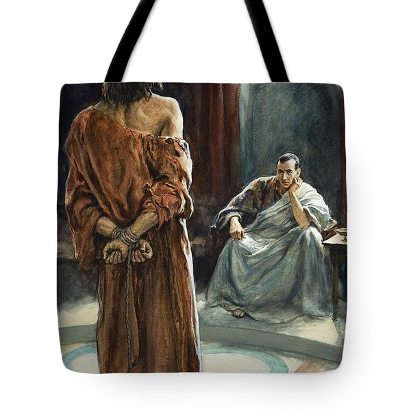 Christ In Front Of Pontius Pilate Tote Bag by Henry Coller