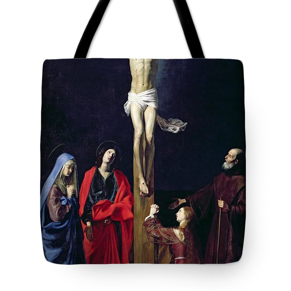 Christ On The Cross With The Virgin Mary Magdalene St John And St Francis Of Paola Tote Bag by Nicolas Tournier