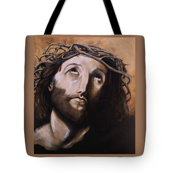 Christ with Crown of Thorns Tote Bag by Laura Ury