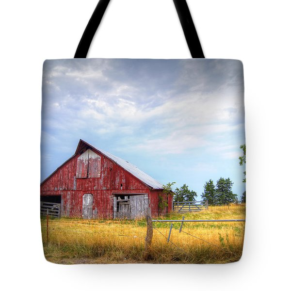 Christian School Road Barn Tote Bag by Cricket Hackmann