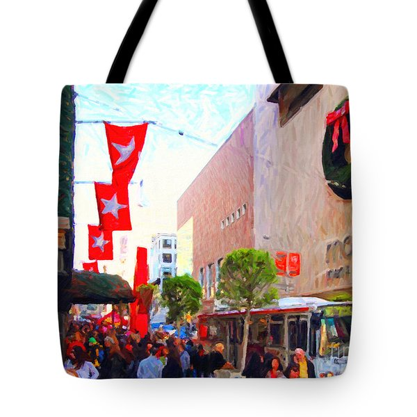 Christmas At Macys In San Francisco . Photoart Tote Bag by Wingsdomain Art and Photography