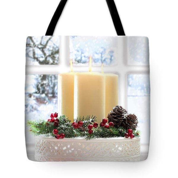 Christmas Candles Display Tote Bag by Amanda Elwell