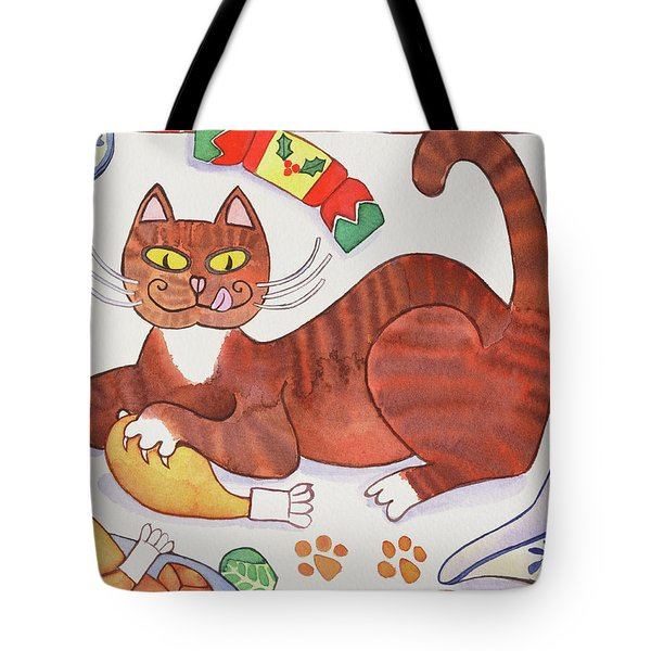 Christmas Cat And The Turkey Tote Bag by Cathy Baxter