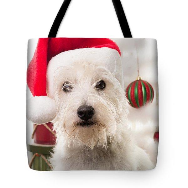 Christmas Elf Dog Tote Bag by Edward Fielding