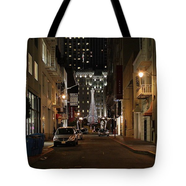 Christmas Eve 2009 on Maiden Lane Tote Bag by Wingsdomain Art and Photography