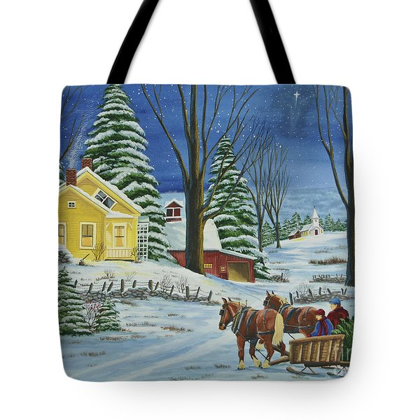 Christmas Eve In The Country Tote Bag by Charlotte Blanchard