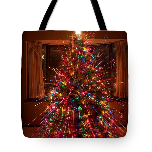 Christmas Tree Light Spikes Colorful Abstract Tote Bag by James BO  Insogna