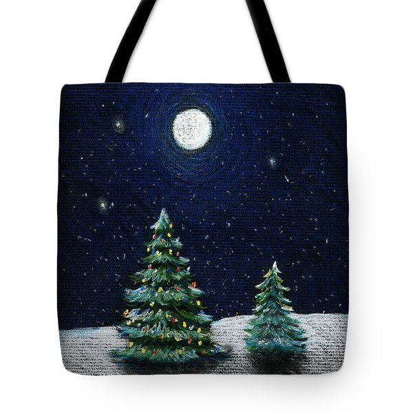 Christmas Trees In The Moonlight Tote Bag by Nancy Mueller