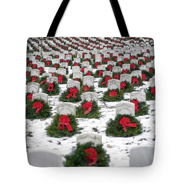 Christmas Wreaths Adorn Headstones Tote Bag by Stocktrek Images