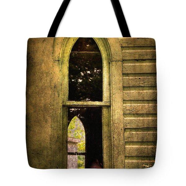 Church Window Church Bell Tote Bag by Lois Bryan