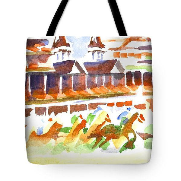 Churchill Downs Watercolor Tote Bag by Kip DeVore