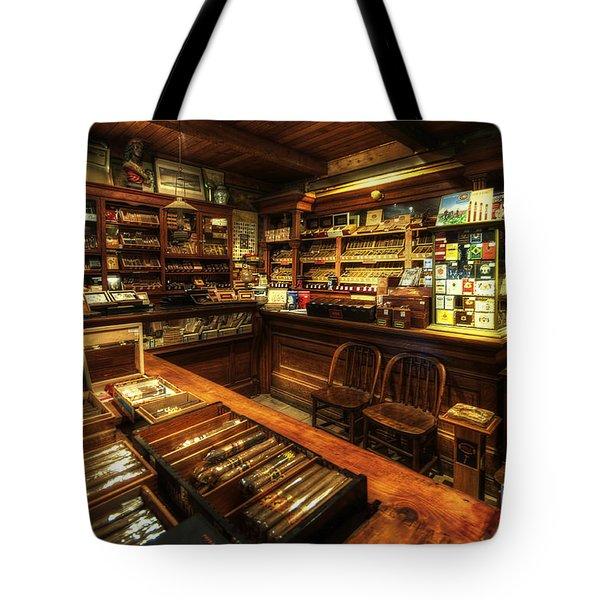 Cigar Shop Tote Bag by Yhun Suarez