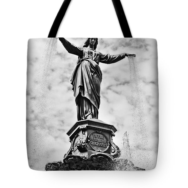Cincinnati Fountain Tyler Davidson Genius of Water Statue Tote Bag by Paul Velgos