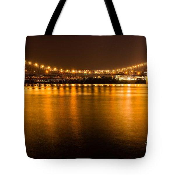 Cincinnati Roebling Bridge At Night Tote Bag by Paul Velgos