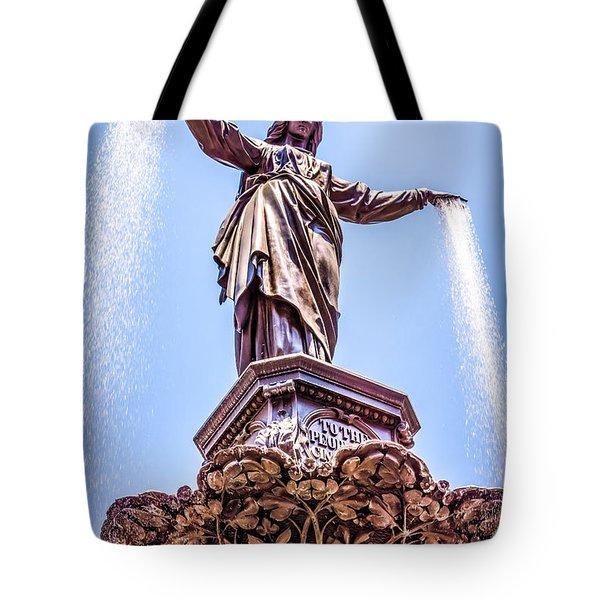 Cincinnati Tyler Davidson Fountain Genius Of Water  Tote Bag by Paul Velgos