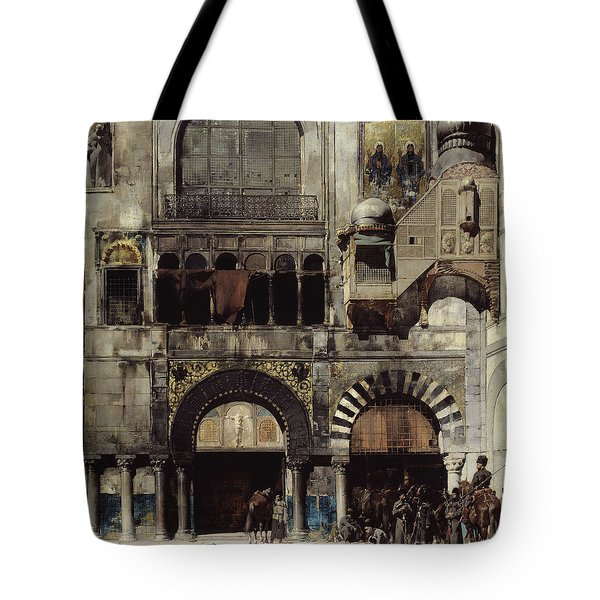 Circassian Cavalry Awaiting Their Commanding Officer At The Door Of A Byzantine Monument Tote Bag by Alberto Pasini