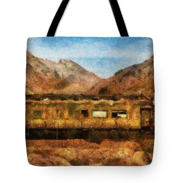 City - Arizona - Desert Train Tote Bag by Mike Savad