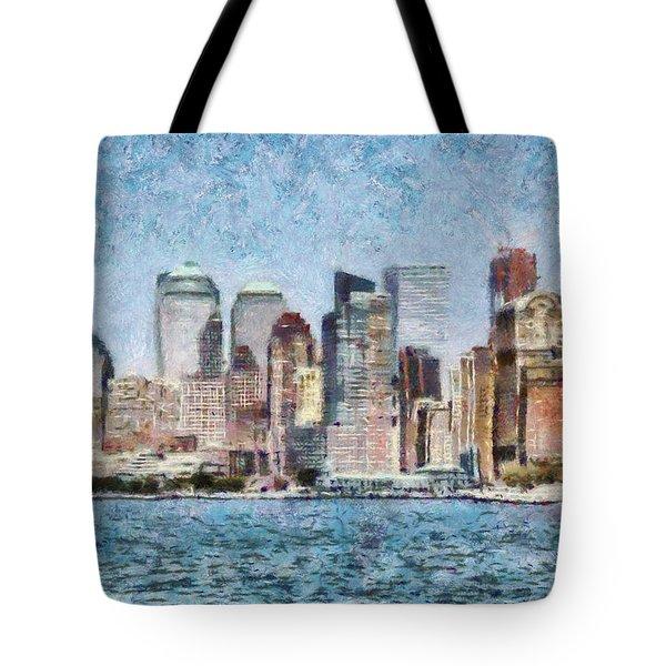 City - Ny - Manhattan Tote Bag by Mike Savad