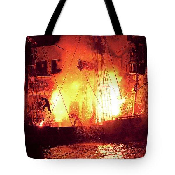 City - Vegas - Treasure Island - Explosion Abandon ship Tote Bag by Mike Savad