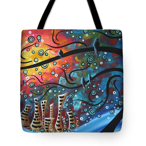 City By The Sea By Madart Tote Bag by Megan Duncanson