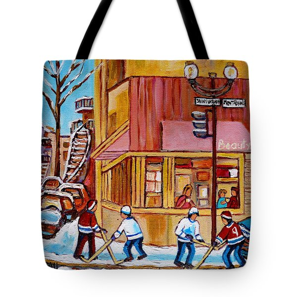 City Of Montreal St. Urbain And Mont Royal Beautys With Hockey Tote Bag by Carole Spandau