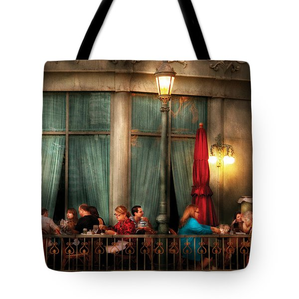 City - Vegas - Paris - The outdoor Cafe  Tote Bag by Mike Savad