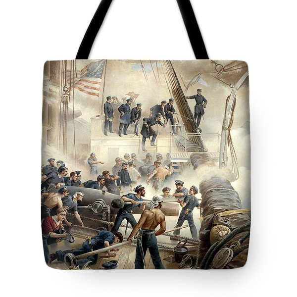 Civil War Naval Battle Tote Bag by War Is Hell Store
