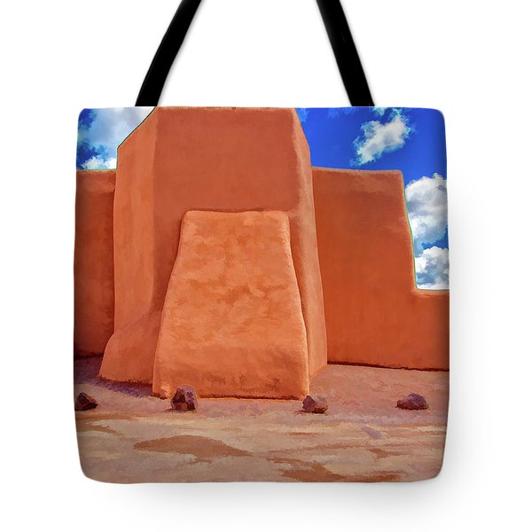 Classic View Of Ranchos Church As Oil Tote Bag by Charles Muhle