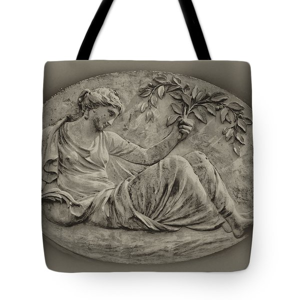 Classical Greek Woman Fresco Tote Bag by Bill Cannon