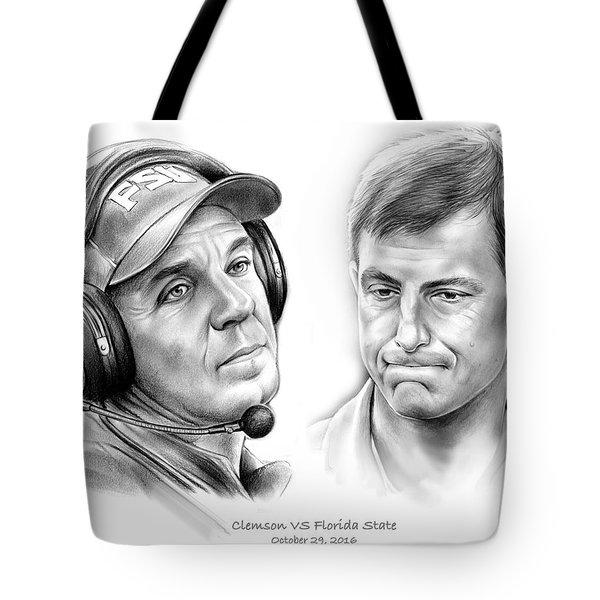 Clemson Vs Florida State Tote Bag by Greg Joens