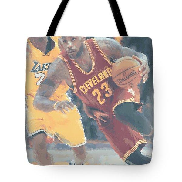 Cleveland Cavaliers Lebron James 3 Tote Bag by Joe Hamilton