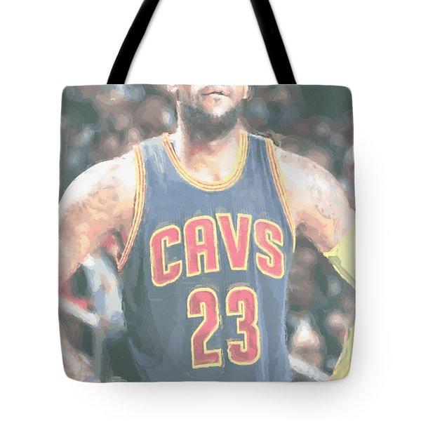 Cleveland Cavaliers Lebron James 5 Tote Bag by Joe Hamilton
