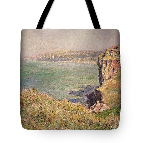 Cliff At Varengeville Tote Bag by Claude Monet