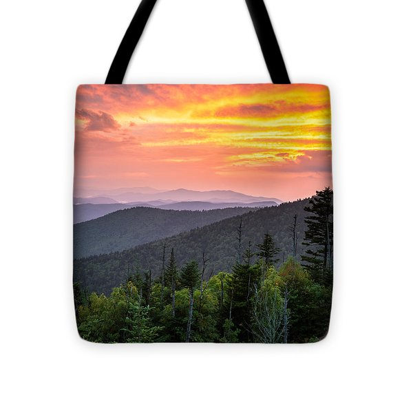 Clingmans Dome Great Smoky Mountains - Purple Mountains Majesty Tote Bag by Dave Allen
