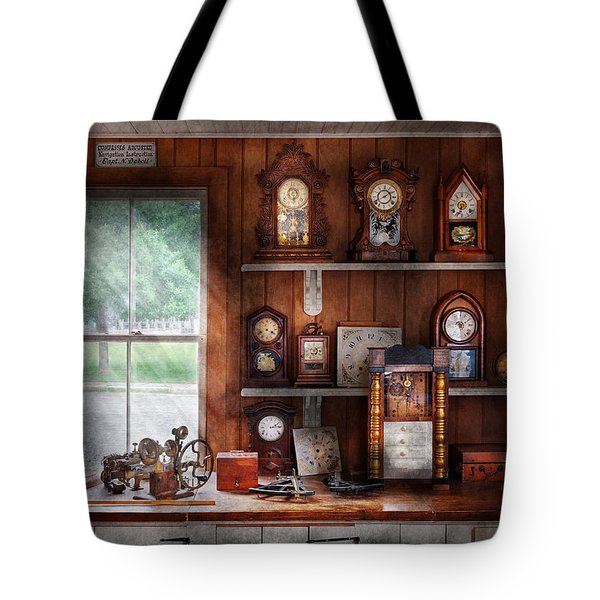 Clocksmith - In the Clock Repair Shop Tote Bag by Mike Savad